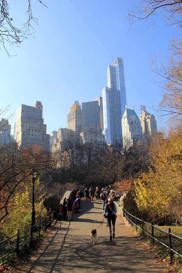 Mensen die door Central Park op een warme, wazige December-dag, NYC, 2015 lopen stock afbeelding