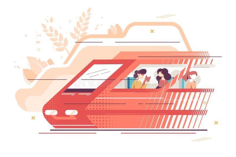Mensen die door trein reizen stock illustratie