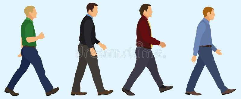 Mensen die in een Lijn lopen vector illustratie