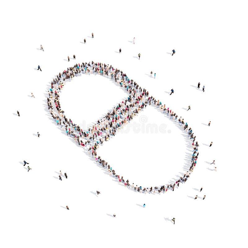 Mensen die in een pil lopen het 3d teruggeven royalty-vrije illustratie