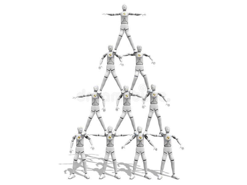 Mensen die een piramidecijfer maken stock illustratie