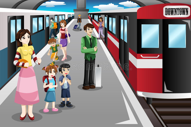 Mensen die in een station wachten stock illustratie