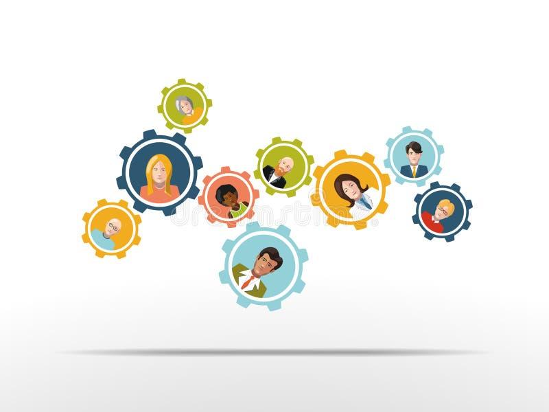 Mensen die in een team als toestelmechanisme werken Vector royalty-vrije illustratie