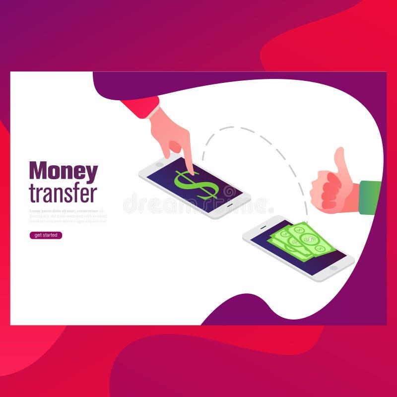 Mensen die en geldradio met mobiele telefoon verzenden ontvangen het verzenden van geld van creditcard via mobiele telefoon royalty-vrije illustratie