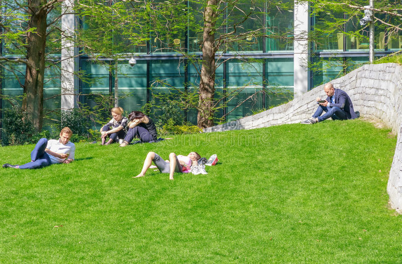 Mensen die en op gras in Jubileumpark zitten liggen, Canary Wharf stock foto's