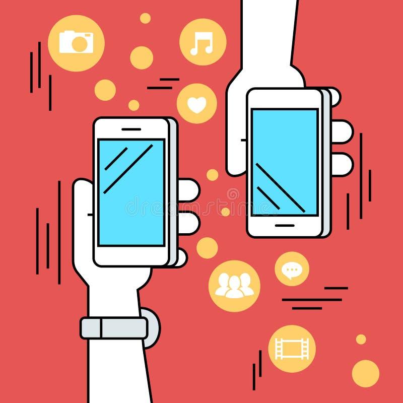 Mensen die gegevens en mobiele apps via smartphone delen vector illustratie