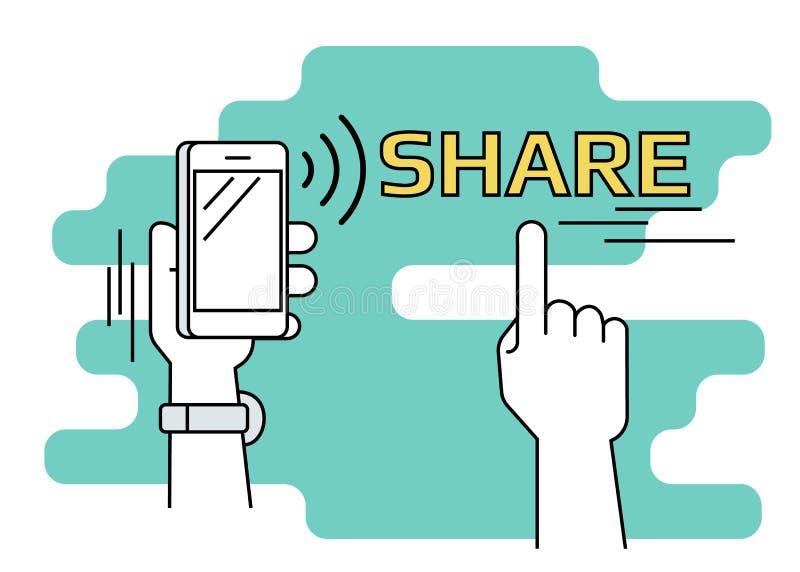 Mensen die gegevens en mobiele apps via smartphone met nfcfunctie delen stock illustratie