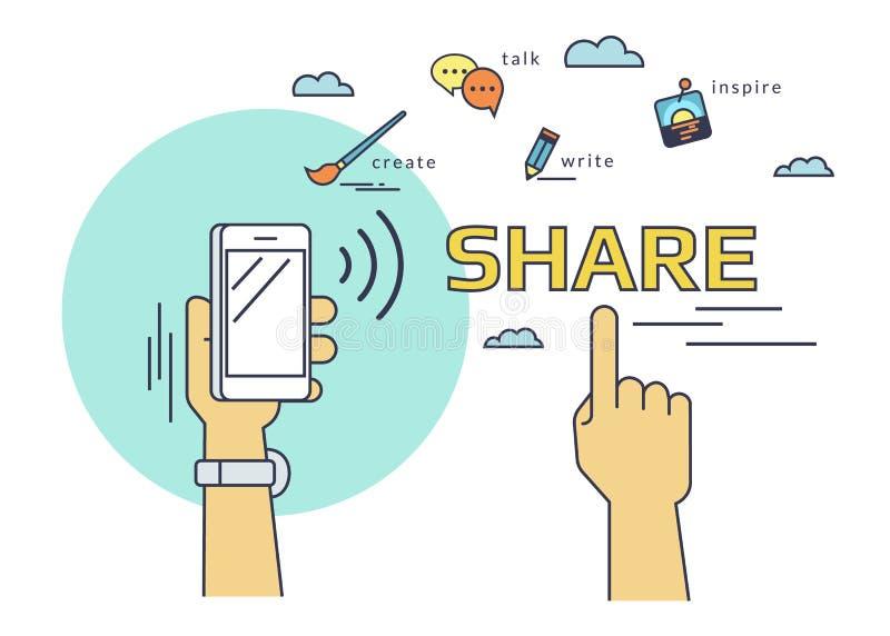 Mensen die gegevens en mobiele apps via smartphone met nfcfunctie delen royalty-vrije illustratie