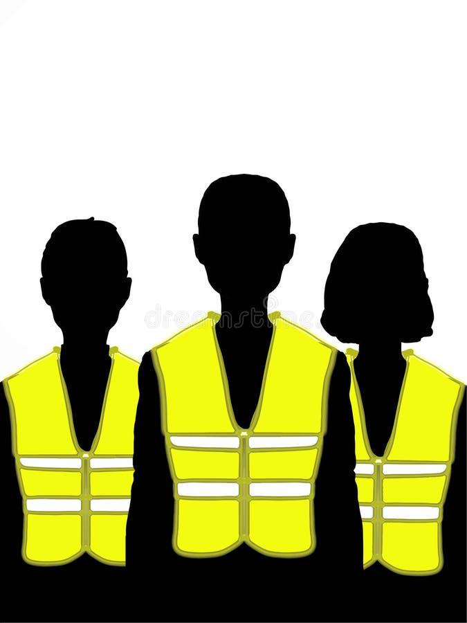 Mensen die gele gele het vestillustratie dragen van de vestillustratie vector illustratie