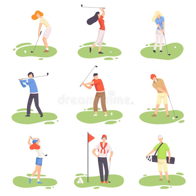 Mensen die Golfreeks, Mannelijke en Vrouwelijke Golfspelerspelers spelen die met Golfclubs op Cursus met Groen Gras opleiden, Ope royalty-vrije illustratie