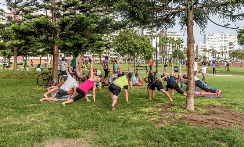 Mensen die in Gr Parque del Amor, Minnaarspark, Miraflores uitoefenen royalty-vrije stock afbeelding
