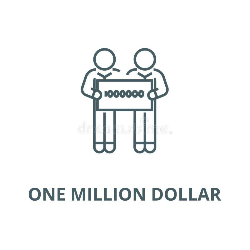 Mensen die grote controle van één miljoen pictogram van de dollar vectorlijn houden, lineair concept, overzichtsteken, symbool vector illustratie