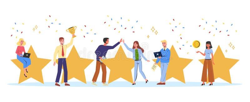 Mensen die grote gouden ster houden als metafoor van classificatie royalty-vrije illustratie