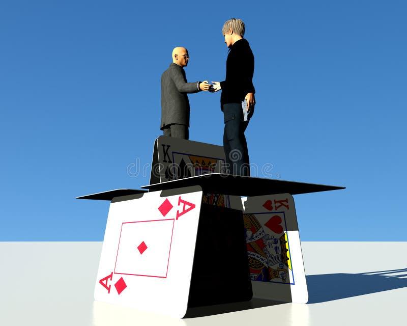 Mensen die handen op een kaartenhuis schudden royalty-vrije stock foto
