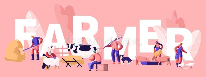 Mensen die het Concept van de de Landbouwbaan doen De Dieren van landbouwerscharacters feeding domestic, het Melken Koe, het Sche stock illustratie