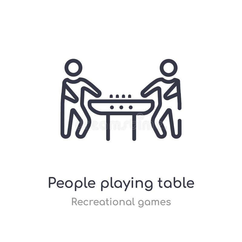 mensen die het overzichtspictogram spelen van de lijstvoetbal ge?soleerde lijn vectorillustratie van recreatieve speleninzameling stock illustratie