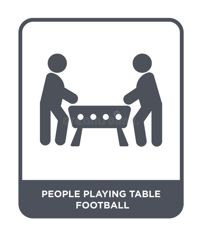 mensen die het pictogram van de lijstvoetbal in in ontwerpstijl spelen mensen die het pictogram spelen die van de lijstvoetbal op vector illustratie