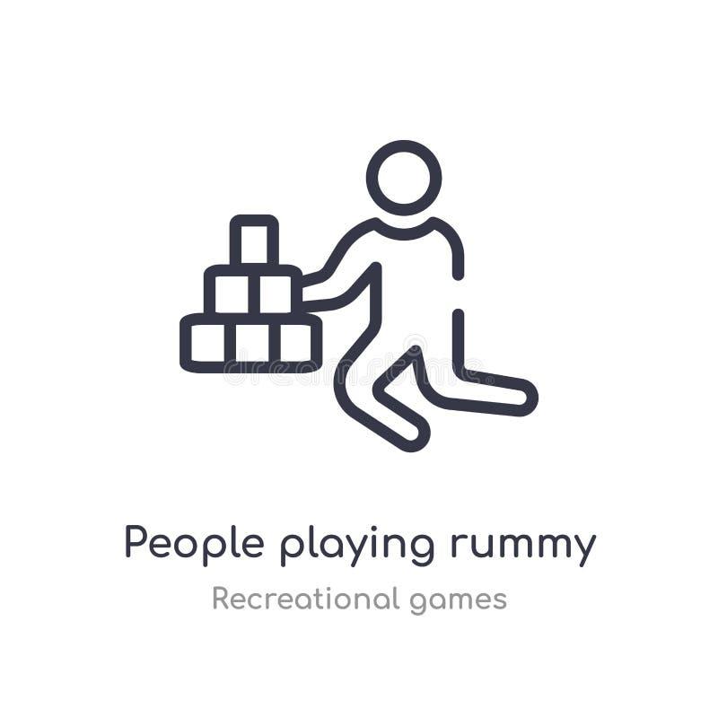 mensen die het pictogram van het rummyoverzicht spelen ge?soleerde lijn vectorillustratie van recreatieve speleninzameling editab royalty-vrije illustratie