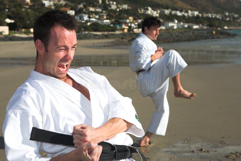 Mensen die het strand van de Karate uitoefenen royalty-vrije stock afbeeldingen