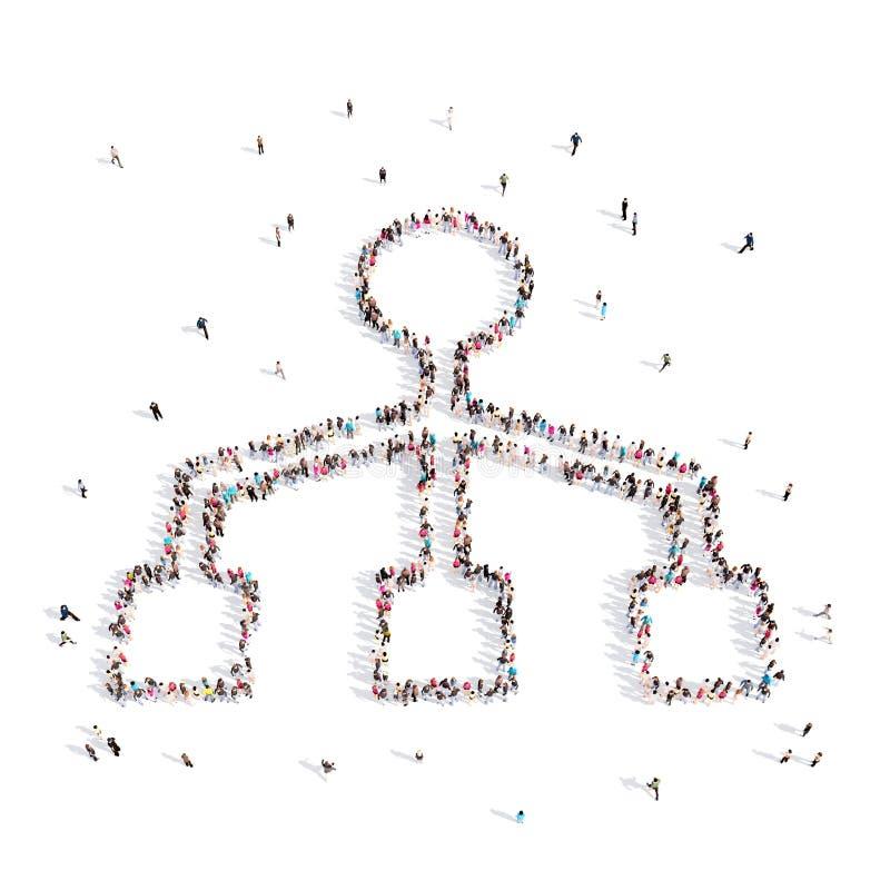 Mensen die in hiërarchie lopen 3D Illustratie royalty-vrije illustratie