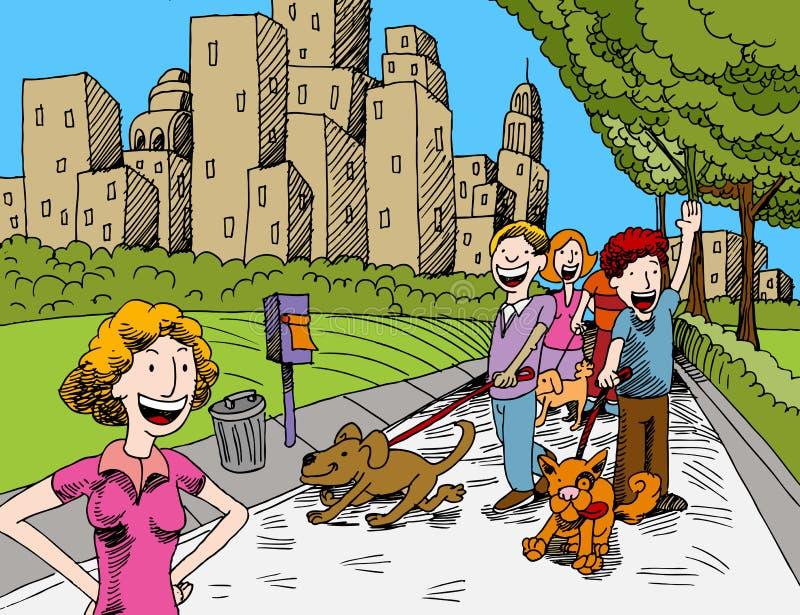 Mensen die Honden in het Park lopen stock illustratie