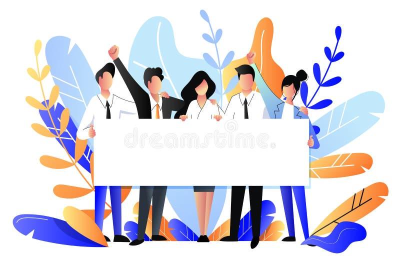 Mensen die horizontale lege witte banner houden Vector illustratie Bedrijfsaffiche of de achtergrond van de groepswerkpresentatie royalty-vrije illustratie