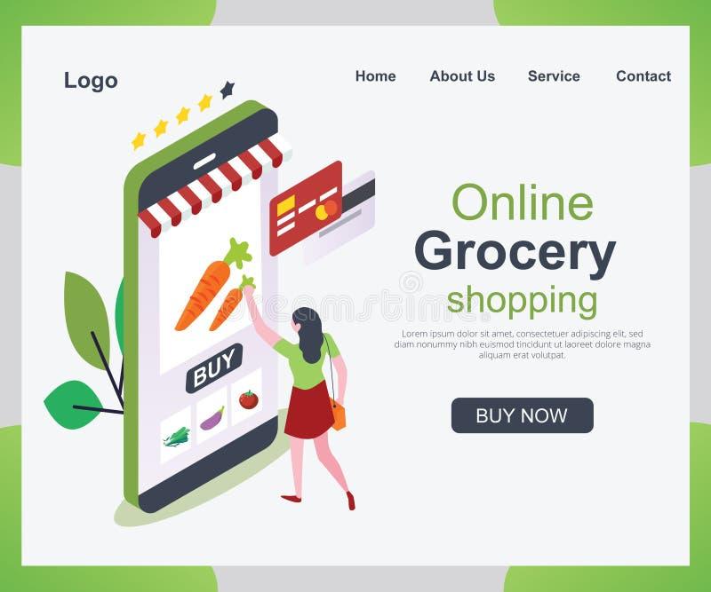 Mensen die hun Kruidenierswinkels Van dag tot dag van een App Isometrisch Kunstwerkconcept winkelen stock illustratie