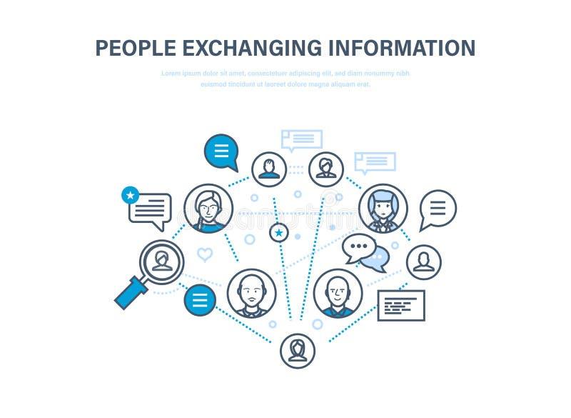 Mensen die informatie ruilen De mededelingen, koppelen terug Internet-netwerk, sociaal netwerk vector illustratie