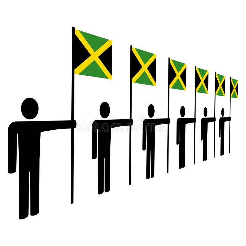 Mensen die Jamaicaanse vlaggen houden vector illustratie