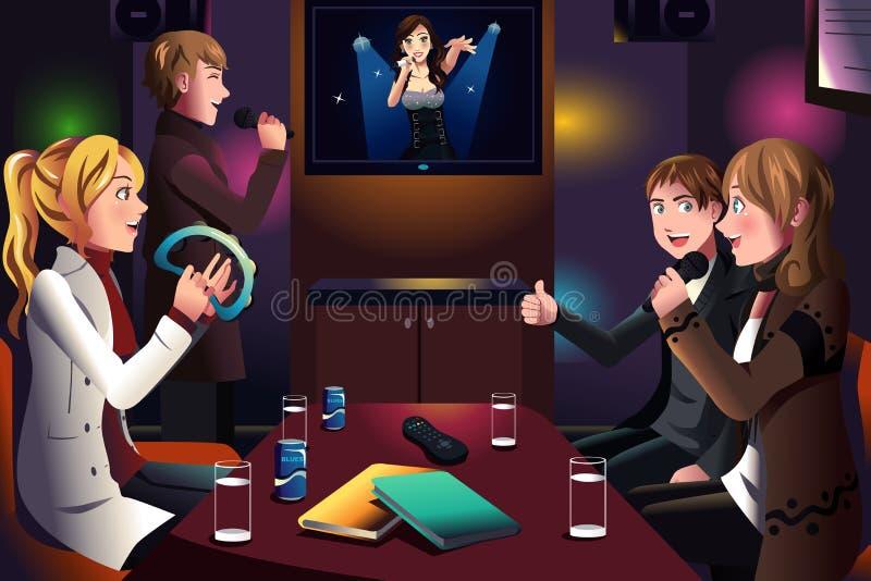 Mensen die karaoke zingen stock illustratie