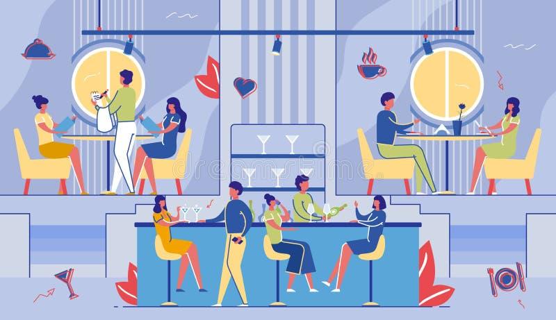 Mensen die Koffie bezoeken Vrije tijd, Weekendvrije tijd vector illustratie