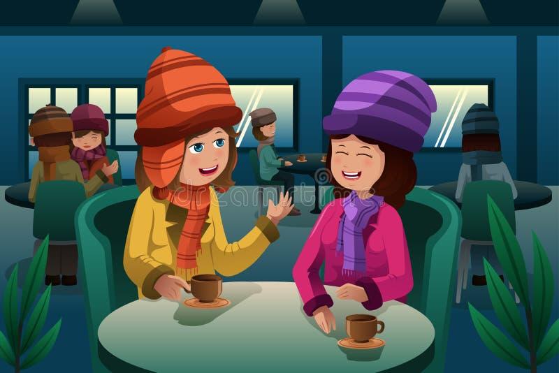 Mensen die koffie drinken vector illustratie