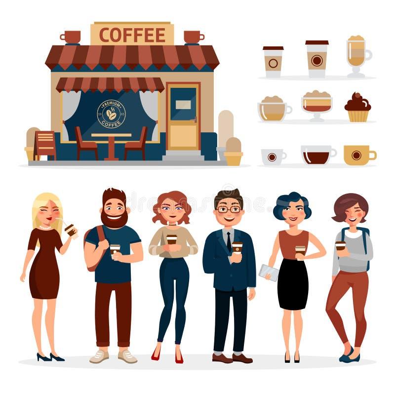Mensen die die koffie drinken in openlucht op witte achtergrond wordt geïsoleerd De infographic elementen van de koffiewinkel met stock illustratie