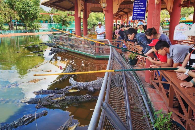 Mensen die krokodillen in Suoi Tien Park voeden stock foto