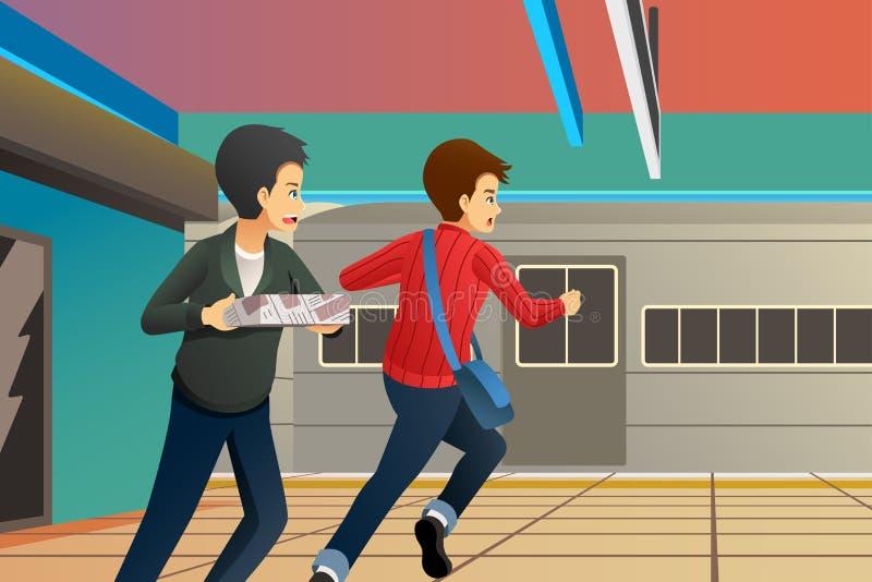 Mensen die laat bij Stationillustratie lopen vector illustratie