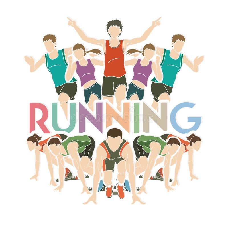 Mensen die, Marathonagent met tekst die grafische vector in werking stellen lopen stock illustratie