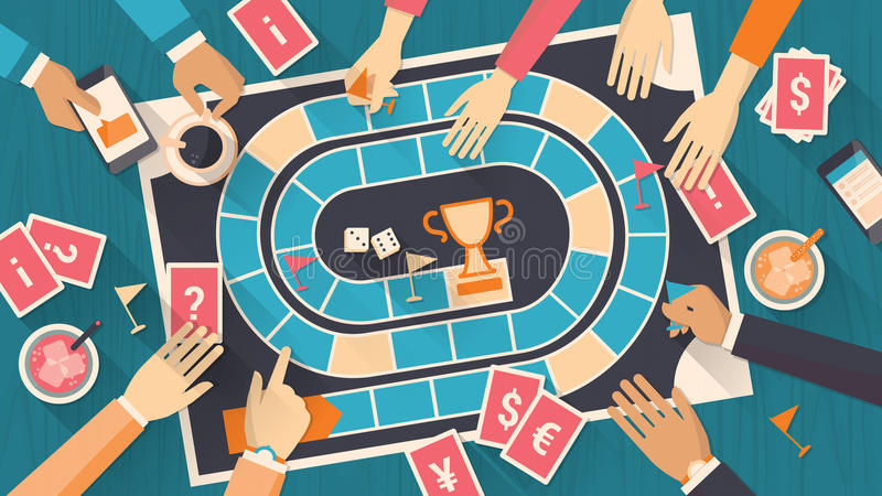 Mensen die met een raadsspel spelen royalty-vrije illustratie