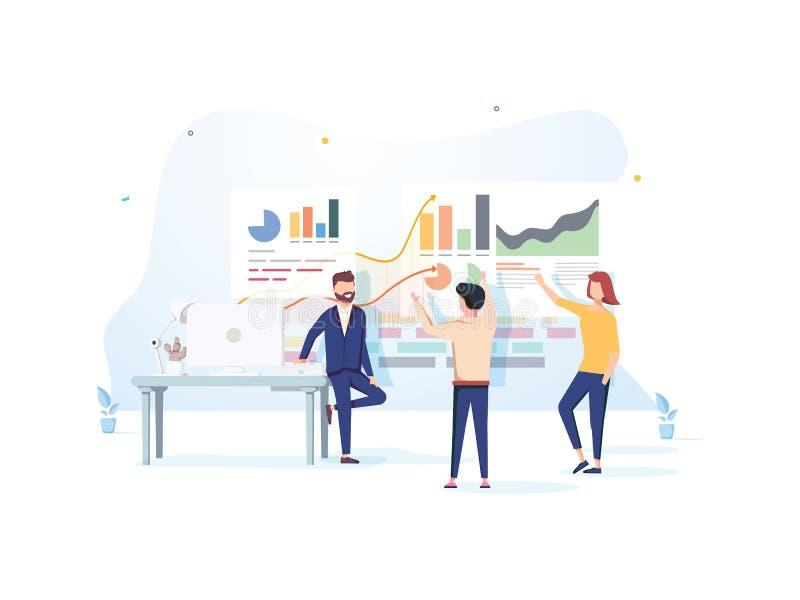 Mensen die met grafieken interactie aangaan en statistieken analyseren Het concept van de gegevensvisualisatie 3d vectorillustrat stock illustratie
