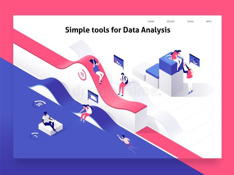 Mensen die met grafieken interactie aangaan en statistieken en gegevens analyseren Landend Paginamalplaatje 3d isometrische vecto vector illustratie