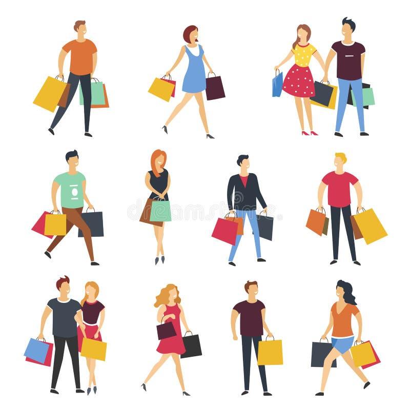 Mensen die met het beeldverhaal vlak geïsoleerd van winkelzakken vector geplaatste pictogrammen winkelen stock illustratie