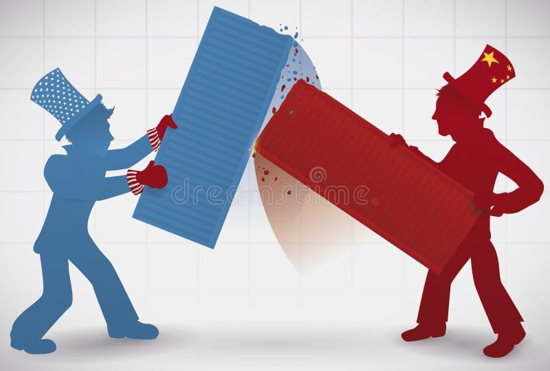 Mensen die met Ladingsverzending tijdens Handelsoorlog vechten tussen U S A - China, Vectorillustratie stock illustratie