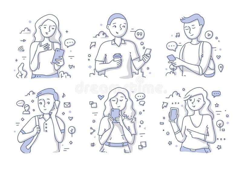 Mensen die mobiele telefoon met behulp van vector illustratie