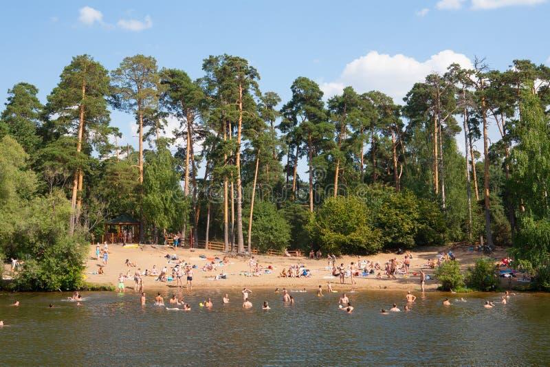 Mensen die in Moskva-Rivier bij het Park van Serebryany zwemmen Bor stock afbeelding