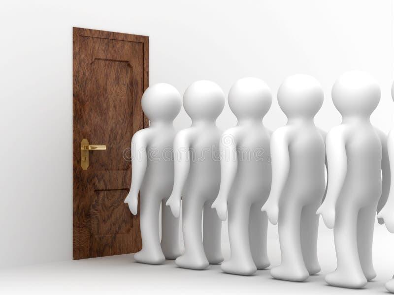 Mensen die na een andere bevinden zich vóór deur royalty-vrije illustratie