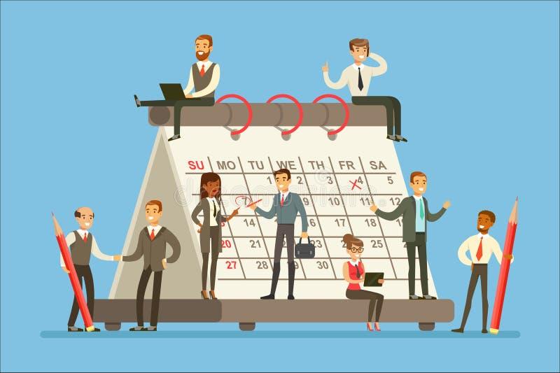 Mensen die in Onderneming rond Reuzekalender werken die, en de Strategie spreken bespreken plannen stock illustratie