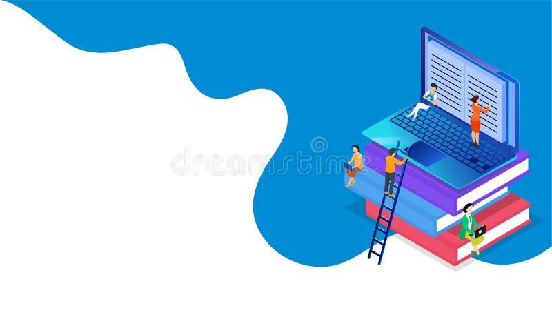 Mensen die of online van laptop voor E-book of E-het Leren concept bestuderen voorbereidingen treffen royalty-vrije illustratie