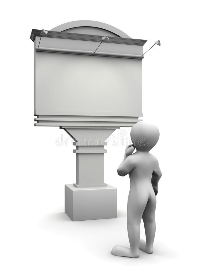 Mensen die op aanplakbord kijken stock illustratie