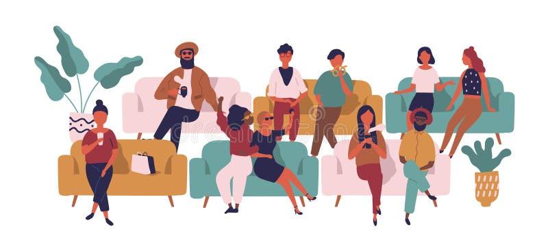 Mensen die op banken op wachtkamer, zaal of gebied zitten Grappige mannen en vrouwen op lagen die geïsoleerde op film wachten bij stock illustratie