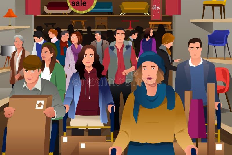 Mensen die op Black Friday winkelen vector illustratie