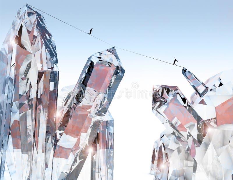 Mensen die op een kabel, fantastische wereld lopen Kristallen en bergen Mensen op een afgrond worden opgeschort die Slackline Sci royalty-vrije illustratie